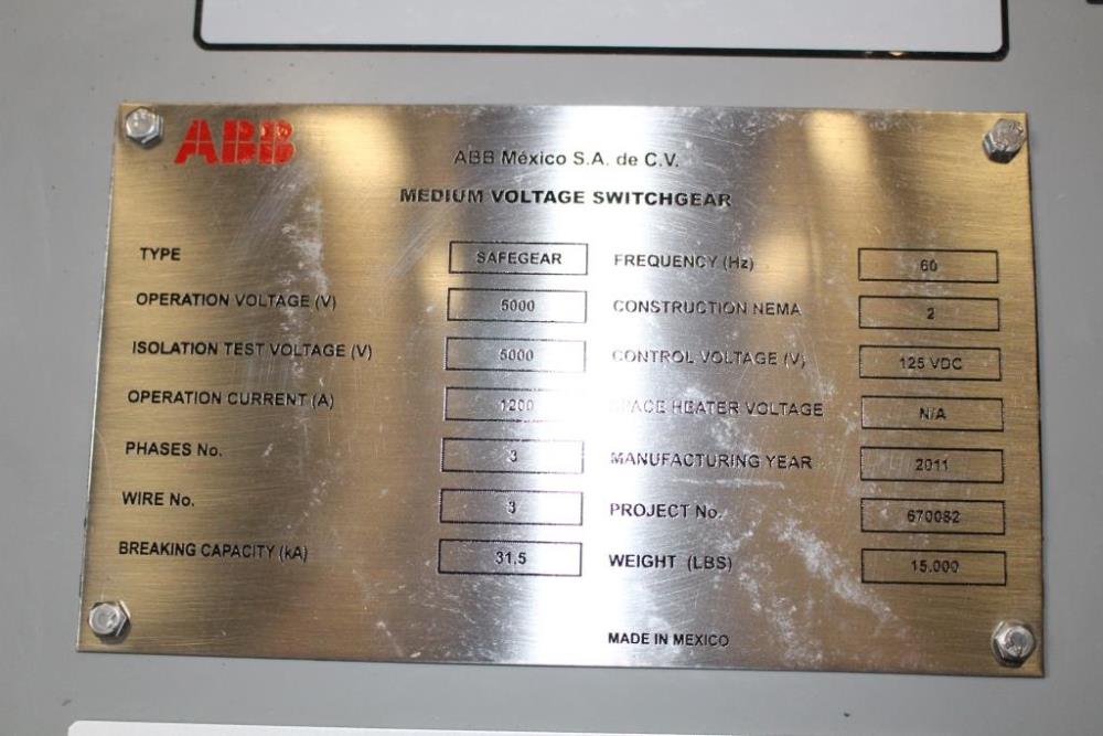 New Surplus Abb Safegear Arc Resistant Metal Clad